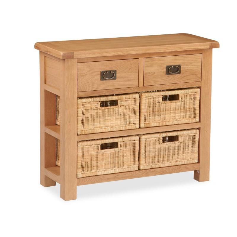 Salisbury Small Sideboard with Baskets oak sideboards oak furniture kilkenny oak storage