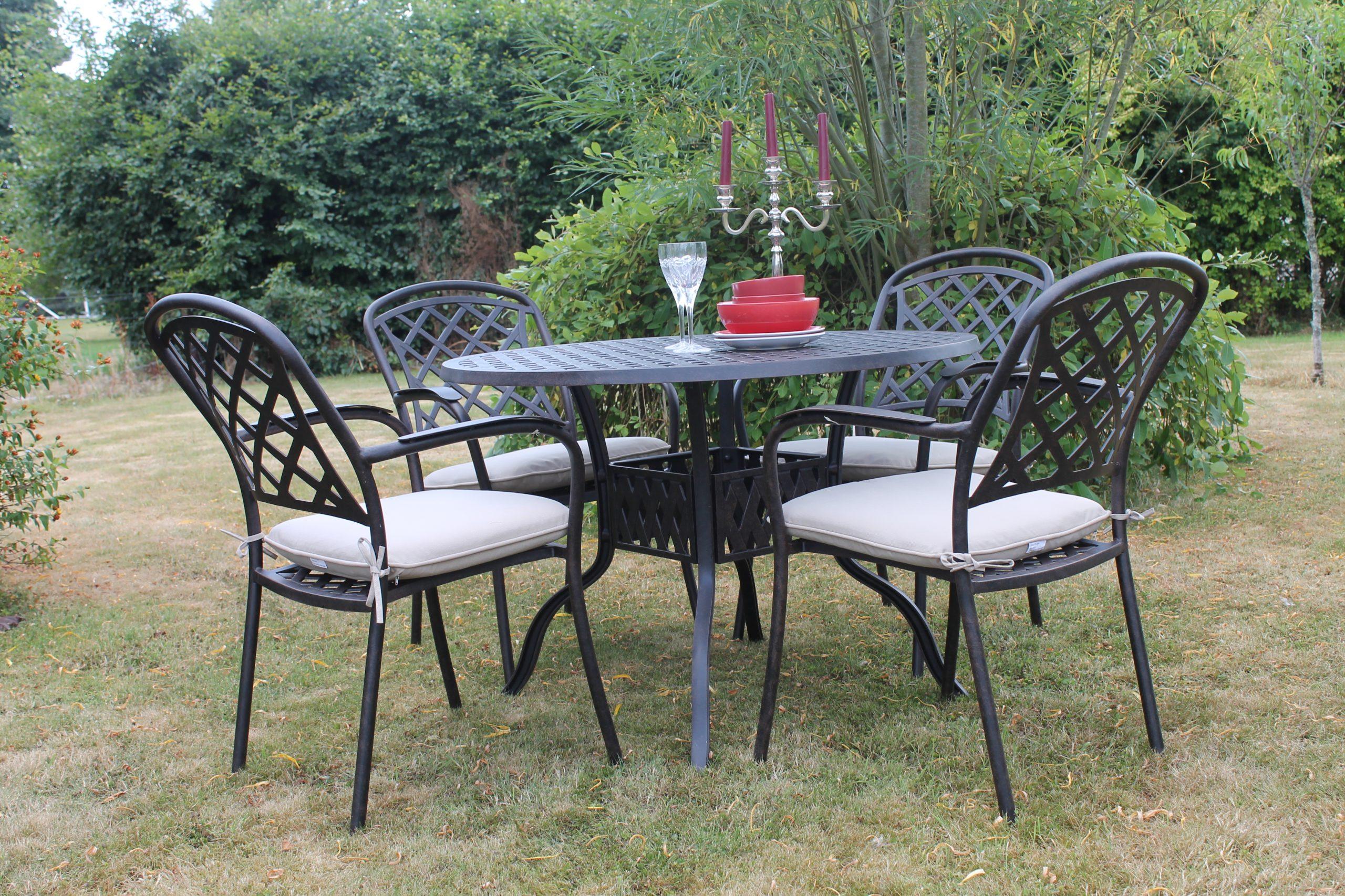 Grafton Cast Aluminium 4 Seater Set, Cast Aluminium Garden Furniture