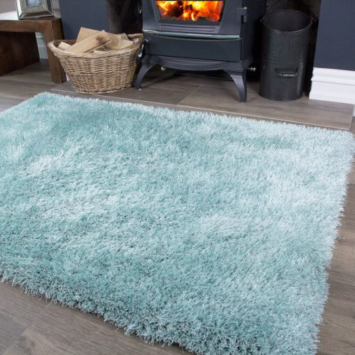 Duck Egg Polyester Shaggy Room Rug - Barrington