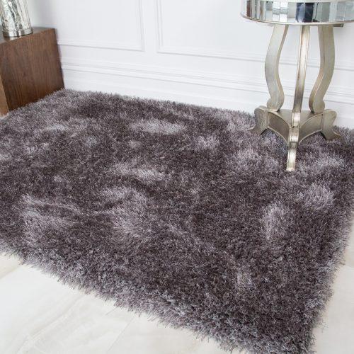 Small Grey Polyester Soft Shaggy Rug - Barrington