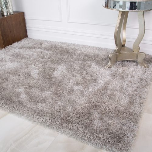 Silver Polyester Shaggy Room Rug - Barrington
