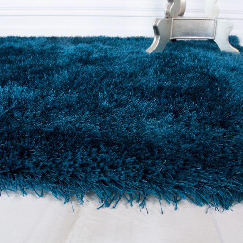 Modern Teal Blue Soft Shaggy Rug - Barrington