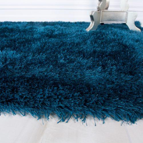 Modern Teal Blue Soft Shaggy Rug - Barrington