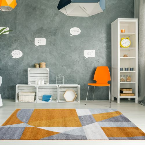 Modern On-trend Terracotta & Grey Geometric Abstract Rug - Rio