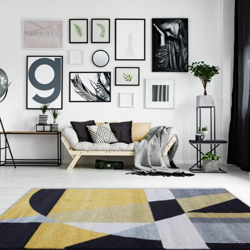 Modern Ochre, Black & Grey Geometric Abstract Rug - Rio