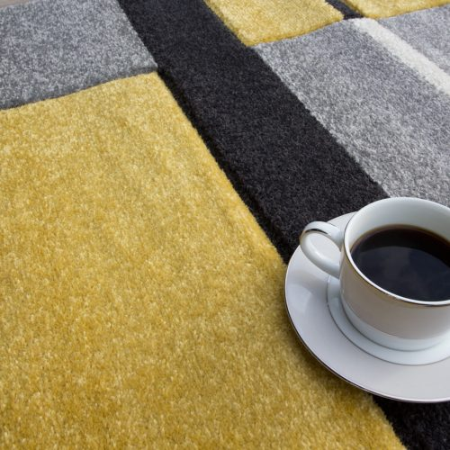 Yellow & Grey Contemporary Patchwork Living Room Rug - Rio