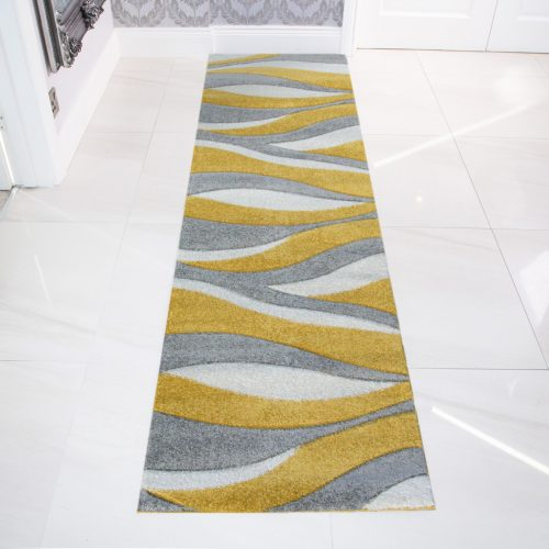 Contemporary Yellow & Grey Wave Living Room Rug - Rio