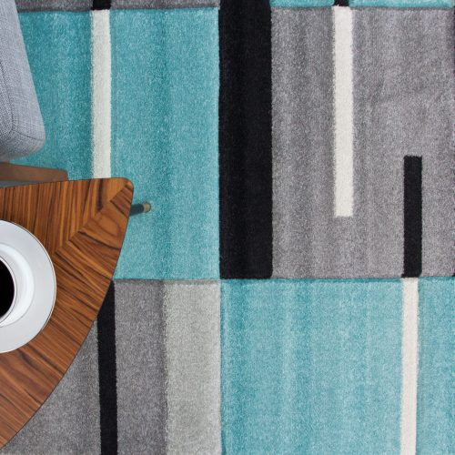 Teal Blue & Grey Patchwork Living Room Rug - Rio