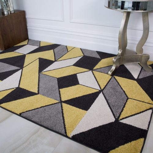 Ochre Yellow & Grey Geometric Rugs - Rio