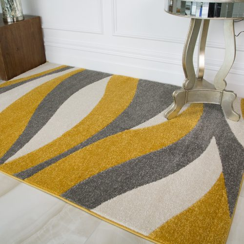 Contemporary Yellow & Grey Wave Living Room Rug - Rio