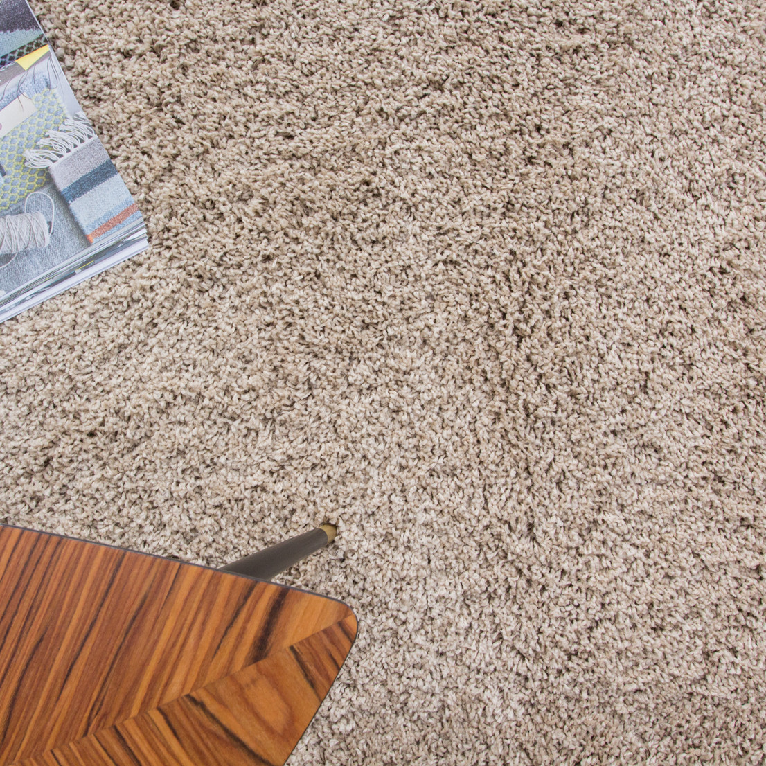 Beige Non Shed Shaggy Rug