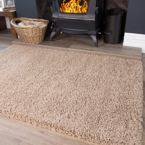 Beige Non Shed Shaggy Rug - Vancouver